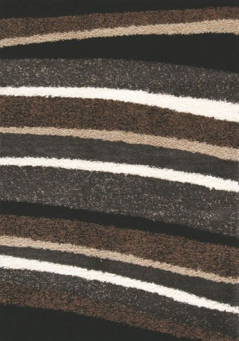 "Shaggy Brown Tan Stripes 47"" Rug"