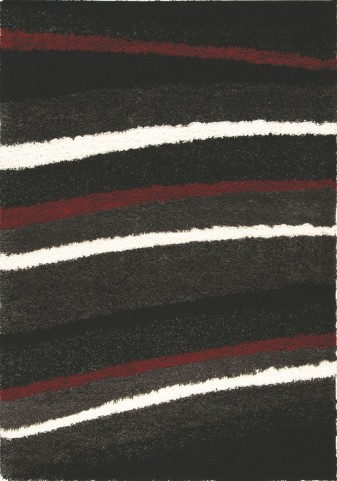 "Shaggy Red White Stripes 94"" Rug"