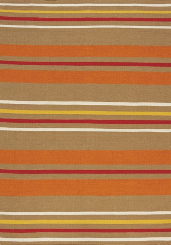Shore Brown/Orange Stripes Flatweave  Small Rug
