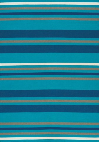 Shore Teal/Navy Stripes Flatweave   Large Rug