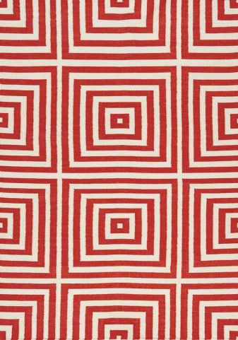 Shore Red/Cream Optical Illusion Flatweave   Large Rug