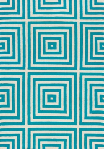 Shore Teal/Cream Optical Illusion Flatweave  Medium Rug