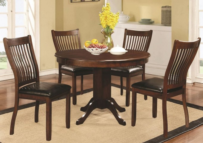 Sierra Cherry Brown Round Pedestal Dining Room Set