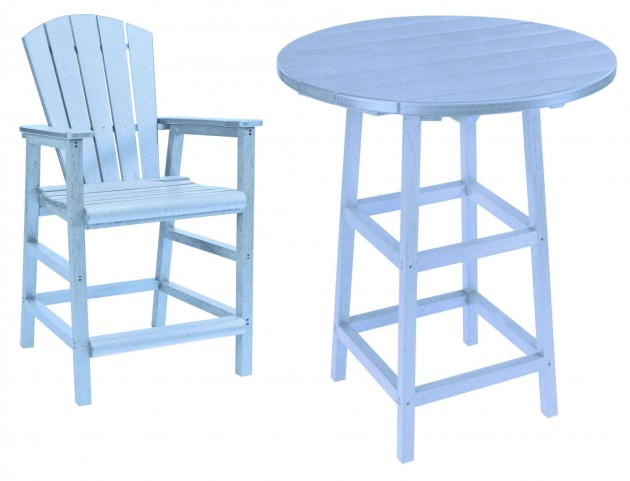 "Generations Sky Blue 32"" Round Leg Pub Set"