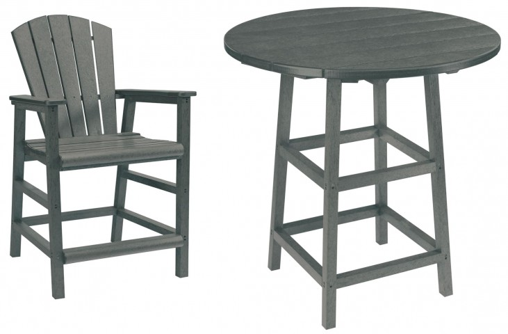 "Generations Slate Grey 32"" Round Leg Pub Set"