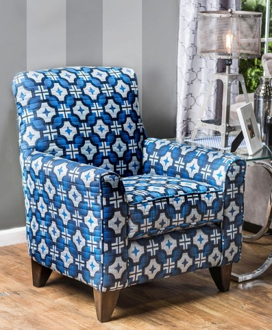 Navan Blue Geometric Pattern Chair