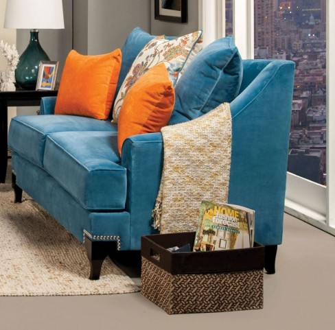Vincenzo Peacock Blue Loveseat