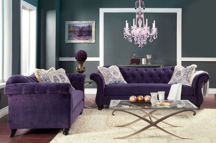 Antoinette Purple Premium Fabric Living Room Set