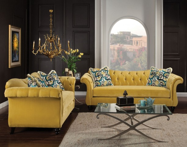 Antoinette Royal Yellow Living Room Set