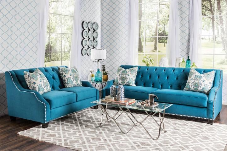 Celeste Azure Blue Living Room Set