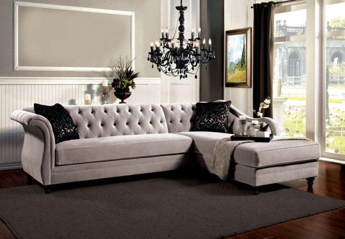 Rotterdam Fabric and Leatherette Sectional