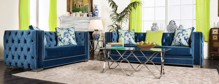 Salvatore Lapis Blue Living Room Set