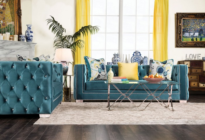 Salvatore Turquoise Living Room Set