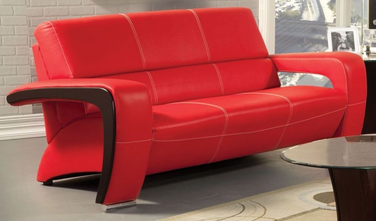 Enez Red Leatherette Sofa