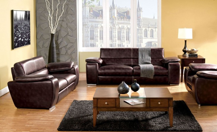 Dinar Brown Bonded Leather Living Room Set