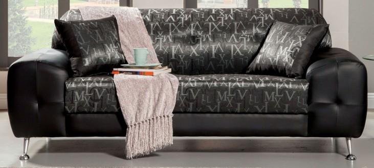Avdira Silver Typographic Fabric Sofa