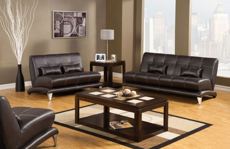Artem Espresso Leatherette Living Room Set