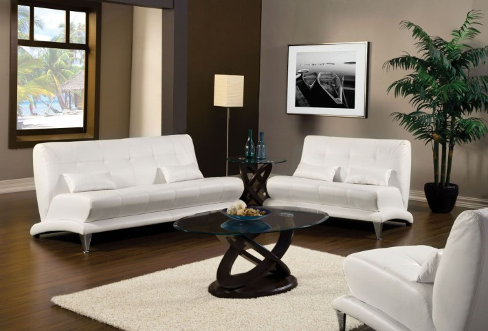 Artem White Leatherette Living Room Set