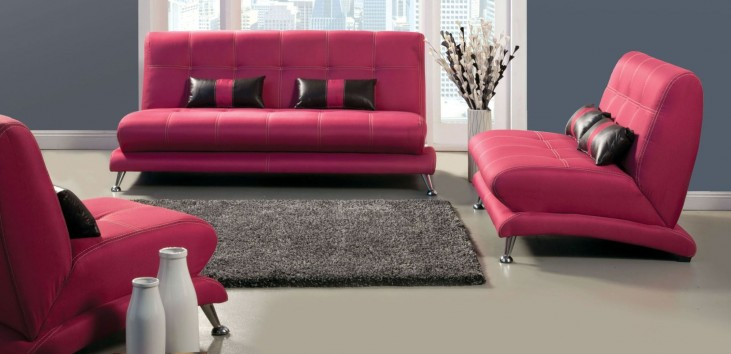 Artem Fuchsia Fabric Living Room Set