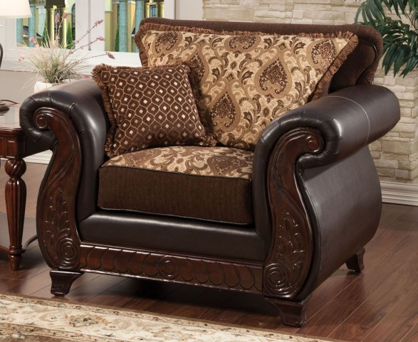 Franklin Dark Brown Fabric and Leatherette Chair