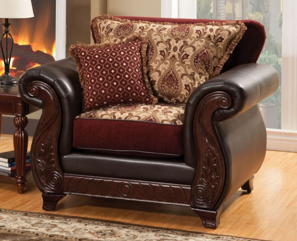 Franklin Burgundy Fabric and Leatherette Chair