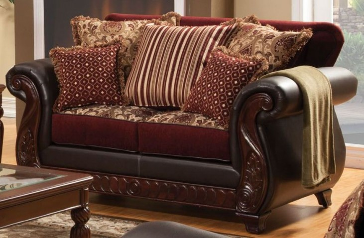 Franklin Burgundy Fabric and Leatherette Loveseat