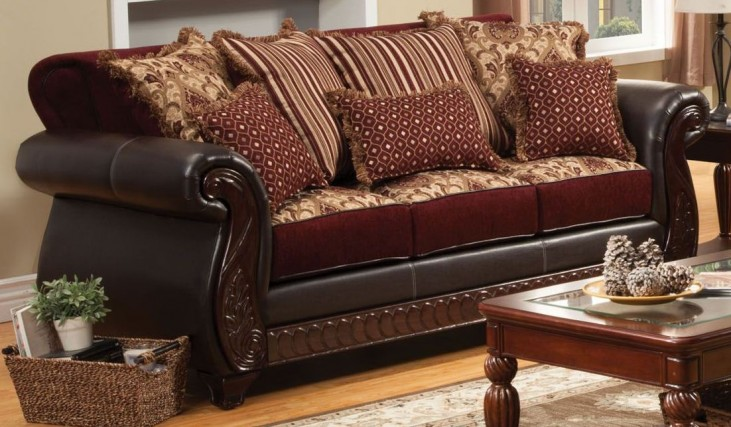 Franklin Burgundy Fabric and Leatherette Sofa