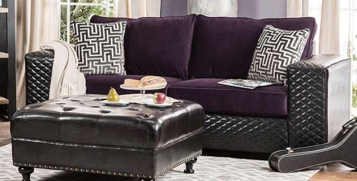 Biden Purple and Black Sofa