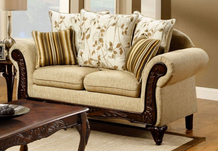 Doncaster Tan Fabric Loveseat