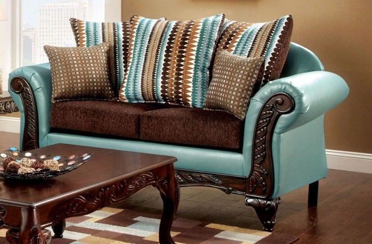 Mulligan Dark Brown Fabric Loveseat