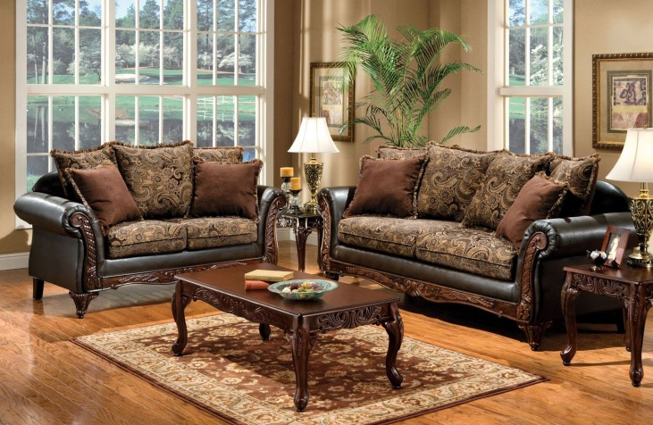 Rotherham Fabric and Leatherette Living Room Set