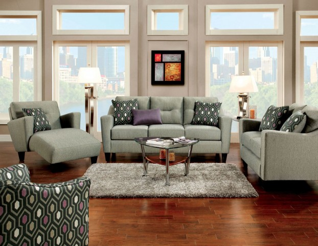 Coltrane Gray Fabric Living Room Set