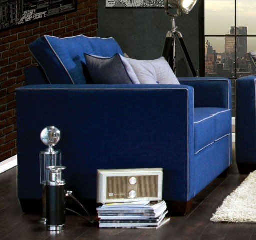 Ravel I Blue Fabric Loveseat