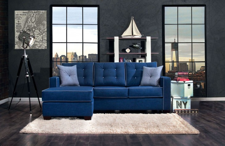 Ravel II Blue Fabric Sectional
