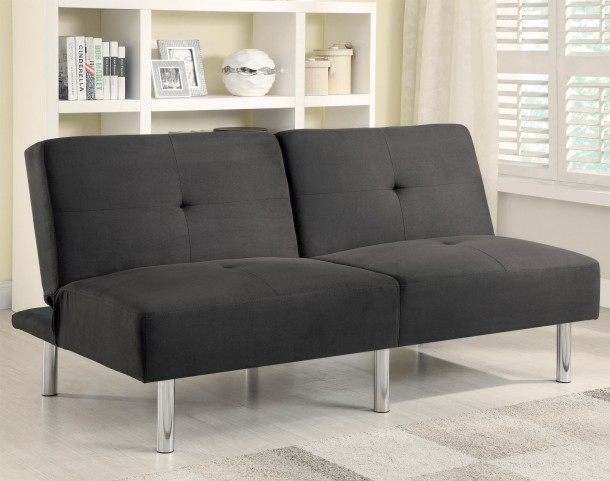 300206 Charcoal Microfiber Split Back Sofa Bed