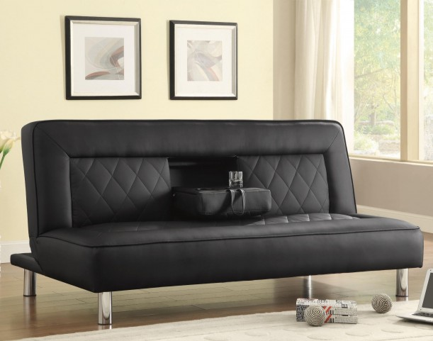 500010 Black leatherette Sofa Bed