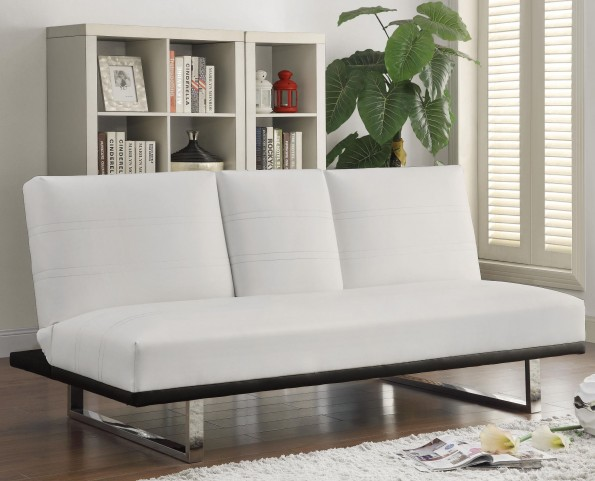 500030 White Leatherette Sofa Bed
