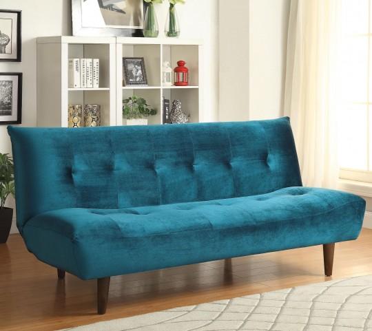 500098 Teal Velvet Tufted Sofa Bed