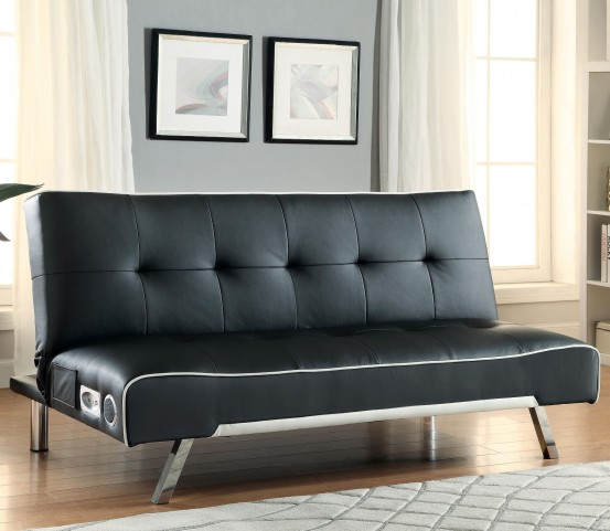 500139 Black Sofa Bed with Built-In Bluetooth Speakers