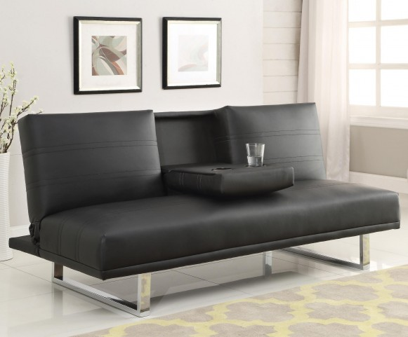 500155 Black leatherette Sofa Bed