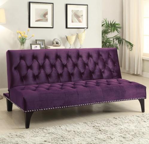 500235 Purple Velvet Upholstery Sofa Bed