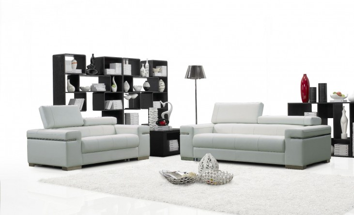 Soho White Leather Living Room Set