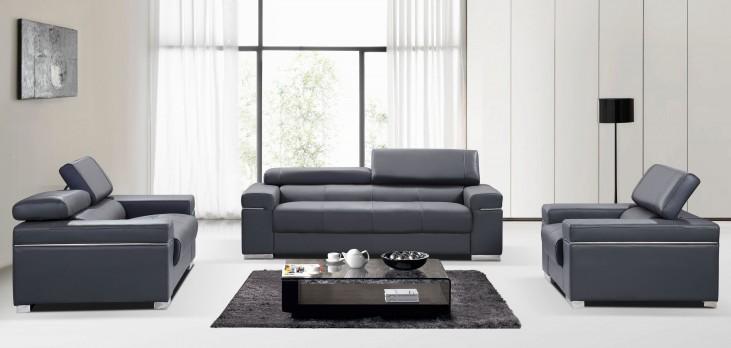Soho Grey Leather Living Room Set