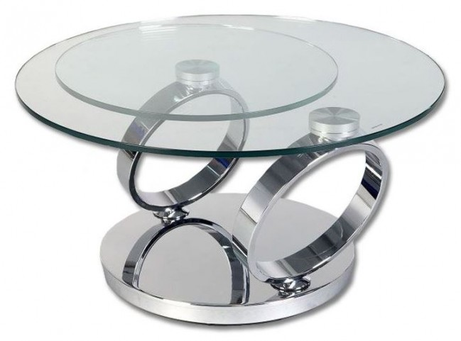 Solar Solar Swivel Glass Coffee Table