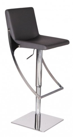 Sonic Black Leather Hydraulic Barstool