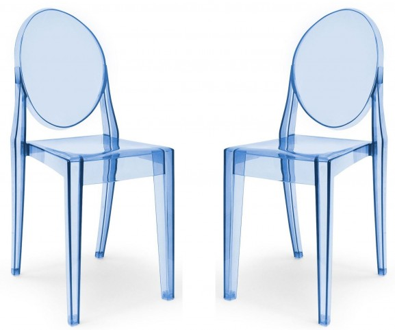 Euro Home Specter Translucent Blue Polycarbonate Side Chair Set of 2