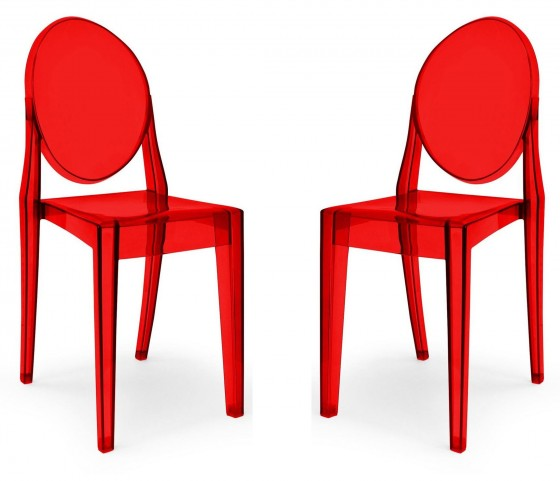 Euro Home Specter Translucent Red Polycarbonate Side Chair Set of 2