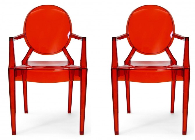 Euro Home Specter Translucent Red Polycarbonate Arm Chair Set of 2