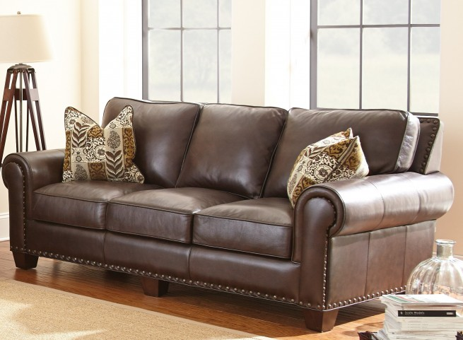 Escher Top Grain Leather Sofa with 2 Accent Pillows
