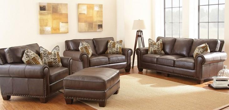 Escher Top Grain Leather Living Room Set